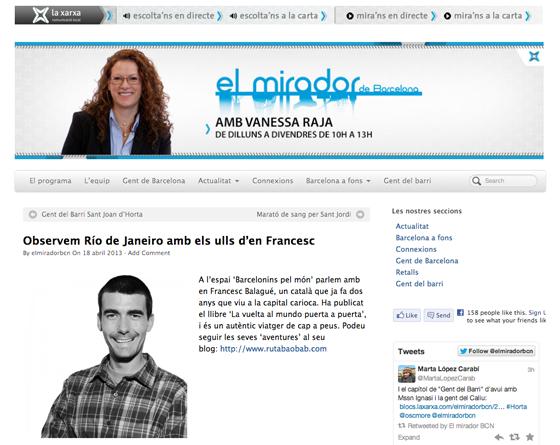 Entrevista a La Xarxa des de Rio de Janeiro